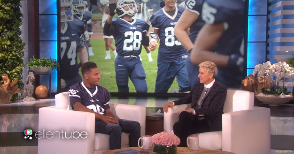 Ellen Chats with Deaf, Blind High School Football Player